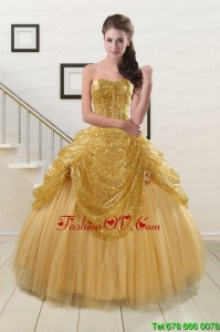 Best Most Popular Sweetheart Sequined Quinceanera Dresses in Gold