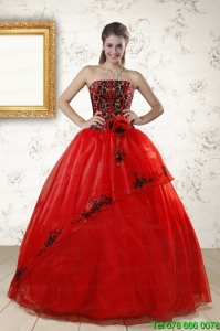 Best Red Appliques Strapless Quinceanera Dresses