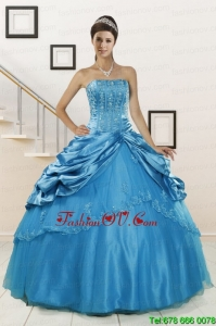 Best Spring Wonderful Strapless Appliques Quinceanera Dresses in Teal