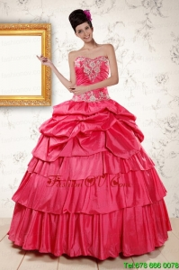 Best The Super Hot Appliques Sweet 16 Dresses in Coral Red