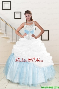 Best White and Blue Ball Gown Quinceanera Dress with Halter