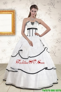 Cheap White and Black Best Quinceanera Dresses with Appliques