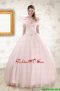 2015 Best Beading Ball Gown Quinceanera Dresses in Light Pink
