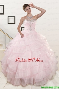Best Cute Baby Pink Quinceanera Dresses with Beading and Ruffles