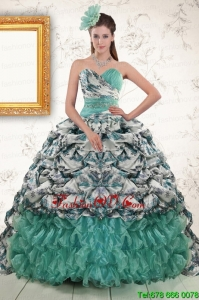 Best Exquisite Turquoise Sweep Train Quinceanera Dresses with Beading and Picks Ups