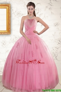 Best Pretty Pink Quinceaneras Dresses with Appliques and Beading