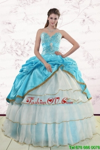 Best Pretty Sweetheart Aqua Blue Quinceanea Dresses with Beading