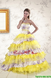 Best Printed and Ruffles Multi-color Quinceanera Dresses