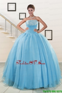 Cheap Strapless Best Quinceanera Dresses with Appliques