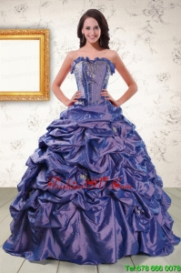 Classic Beading and Pick ups Purple Quinceanera Dresses with Brush Train