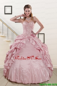 Classic Sweet Spaghetti Straps Quinceanera Dresses in Pink