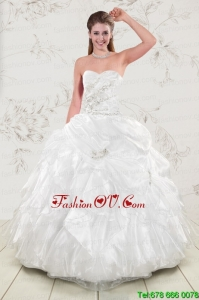 Classical Beading and Ruffles Best Quinceanera Dresses in White