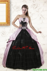 2015 Designer Strapless Quinceanera Dresses with Appliques and Ruffles