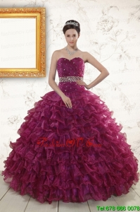 Designer Beading and Ruffles The Most Popular Burgundy Quinceanera Gown