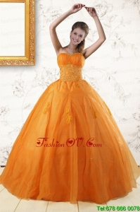 Designer Princess Orange Quinceanera Dresses with Appliques