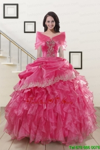 2015 Lovely Appliques and Ruffles Quinceanera Gowns in Hot Pink