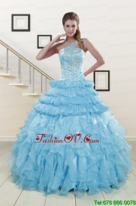 2015 Lovely Baby Blue Sweet 15 Dresses with Beading