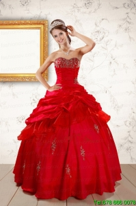 2015 Lovely Beading Sweetheart Red Quinceanera Dresses