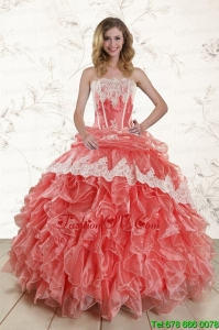 2015 Lovely Watermelon Quinceanera Dresses with Strapless