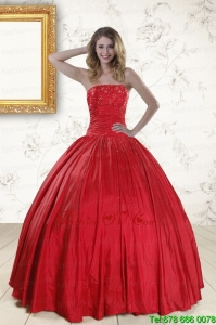 Designer Red Strapless Sweet 16 Dresses with Beading