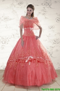 Lovely Appliques Sweetheart Sweet 15 Dresses in Watermelon