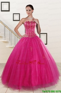 Lovely Fuchsia Quinceanera Dresses with Beading and Appliques