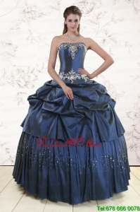 Lovely Navy Blue Quinceanera Dress with Embroidery and Pick Ups