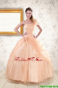 Lovely One Shoulder Appliques Quinceanera Dress in Peach