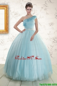Lovely One Shoulder Light Blue Quinceanera Dress for 2015