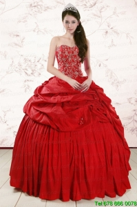 Lovely Red Affordable Sweetheart Beading Quinceanera Dresses