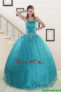 Lovely Spaghetti Straps Appliques Sequins Turquoise Quinceanera Dresses for 2015