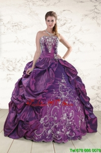 Lovely Strapless Embroidery Quinceanera Dresses in Purple