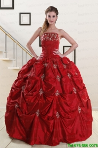 Lovely Strapless Wine Red Appliques Quinceanera Dresses