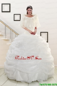 Lovely White Strapless 2015 Quinceanera Dresses with Beading