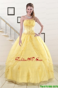 Lovely Yellow 2015 Quinceanera Dresses with Strapless