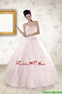 2015 Modern Light Pink Quinceanera Dresses with Appliques