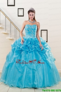 2015 Modern Sweetheart Beading Quinceanera Dress in Aqua Blue