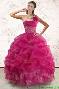 Lovely One Shoulder Appliques and Pick Ups Quinceanera Dresses in Fuchsia