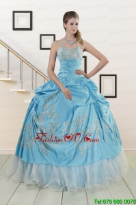 Modern One Shoulder Appliques and Beaded Quinceanera Dresses in Aqua Blue