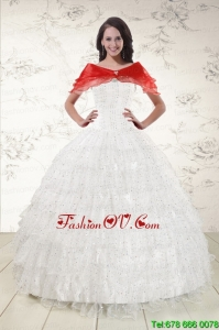 White Ball Gown Modern Quinceanera Dresses with Sequins and Ruffles