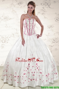 2015 Multi Color Strapless Quinceanera Dresses with Appliques