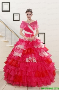 Multi Color Beading Quinceanera Dresses with One Shoulder for 2015