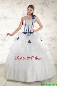 New Style White One Shoulder Hand Made Flower Quinceanera Dress for 2015