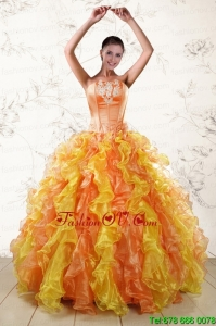 Puffy Multi Color 2015 Quinceanera Dresses with Appliques and Ruffles