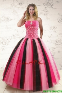 Unique Multi Color Sweet 15 Dresses with Beading for 2015