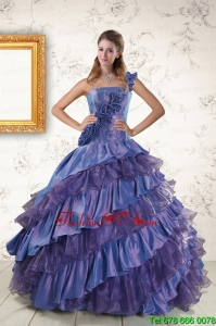 2015 Print One Shoulder Hand Made Flowers and Ruffles Quinceanera Dresses