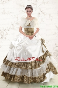 2015 Print Strapless Leopard Quinceanera Dresses with Hand Made Flower