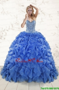 New Style Beading Royal Blue Sweet 15 Dresses with Sweep Train