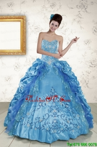 New Style Sweetheart Embroidery Sweet 16 Dress in Blue