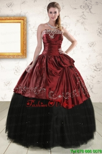 Print Ball Gown Embroidery 2015 Quinceanera Dresses in Rust Red and Black